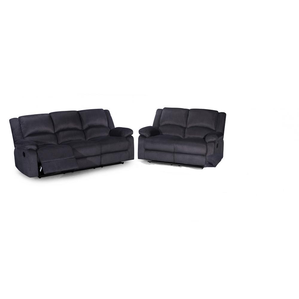 2-Piece Dark Gray Sofa Set-S6027-2PC - The Home Depot