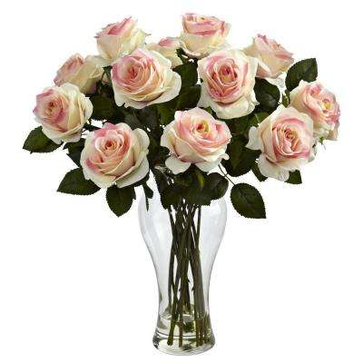 Blooming Roses with Vase in Light Pink