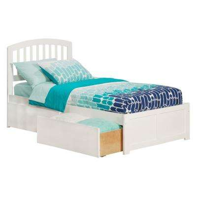 Richmond White Twin XL Platform Bed with Flat Panel Foot Board and 2-Urban Bed Drawers
