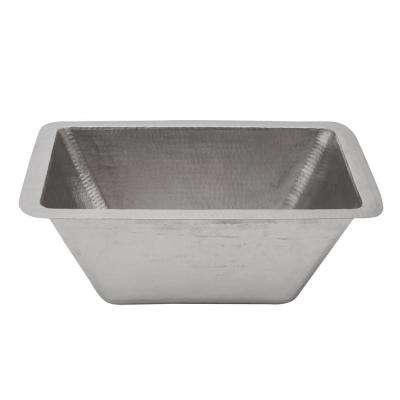 Under Counter/Surface-Mount Rectangle Hammered Copper 17 in. 0-Hole Bathroom Sink in Nickel