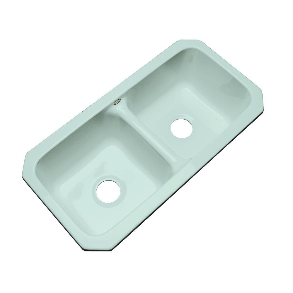 Thermocast Brighton Undermount Acrylic 33x16.5x9 in. 0-Hole Double Basin Kitchen Sink in Seafoam Green