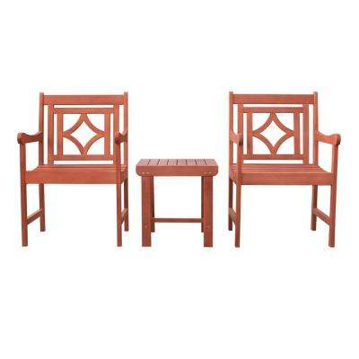 Malibu 3-Piece Wood Patio Conversation Set