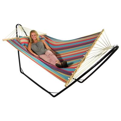 9-1/2 ft. Quilted Fabric Hammock with Spreader Bar and Detachable Pillow in Wildberry