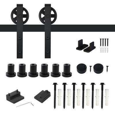 7.5 ft. /90 in. Frosted Black Sliding Barn Door Track and Hardware Kit for Single with Non-Routed Floor Guide