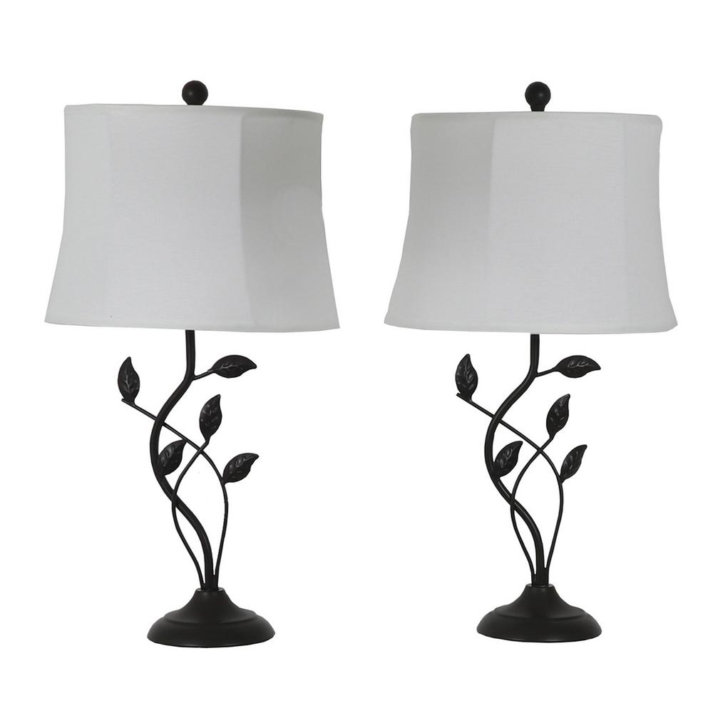 Decor Therapy Olivia Leaf 28 in. Bronze Table Lamps with Shade (Set of 2)