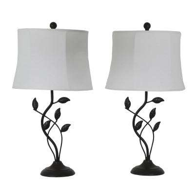 Olivia Leaf 28 in. Bronze Table Lamps with Shade (Set of 2)
