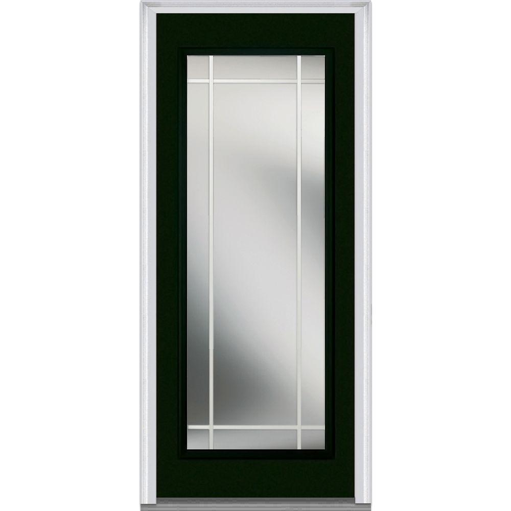 Mmi Door 30 In X 80 In Gbg Right Hand Full Lite Classic Painted Fiberglass Smooth Prehung