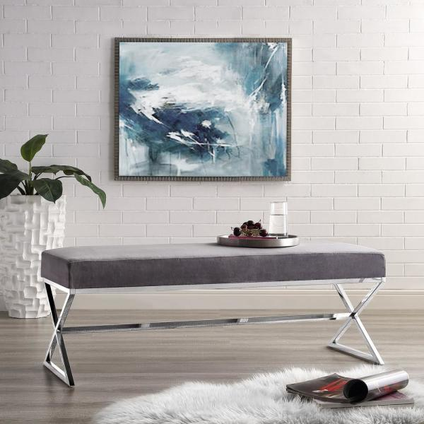 Inspired Home Elora Metal X-Leg Grey/Chrome Velvet Bench BH67-02GR-HD