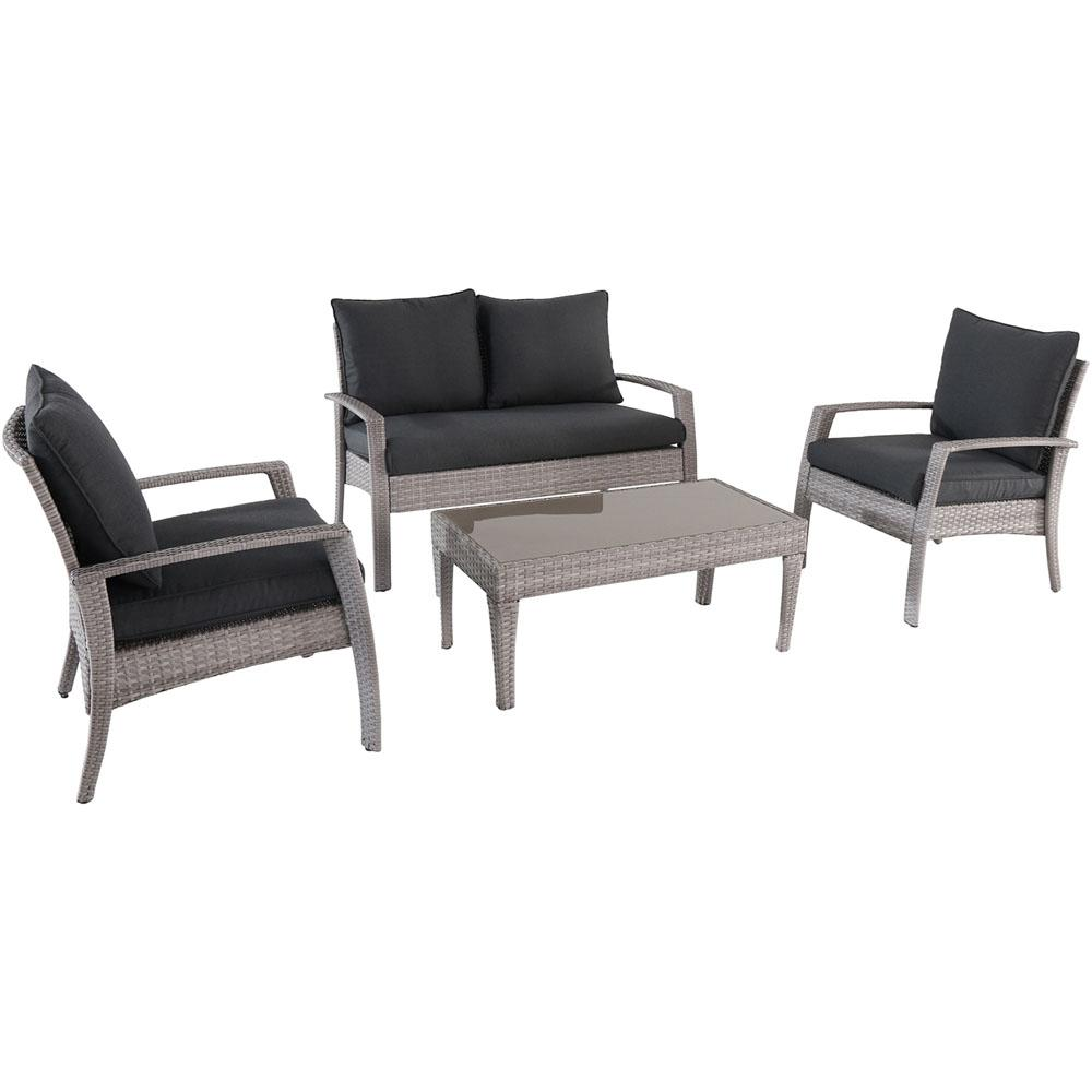 London 4-Piece Wicker Patio Seating Set with Gray Cushions