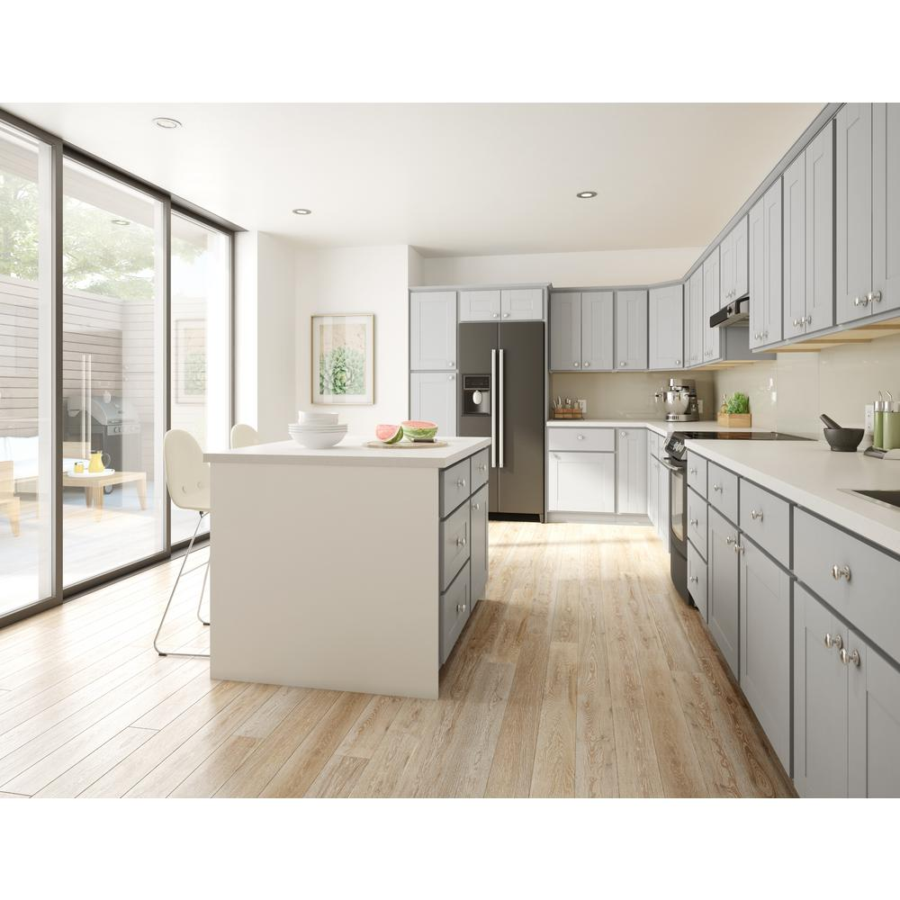 Hampton Bay Princeton Shaker Embled 18x34 5x24 In Pull Out Trash Can Base Kitchen Cabinet Warm Grey