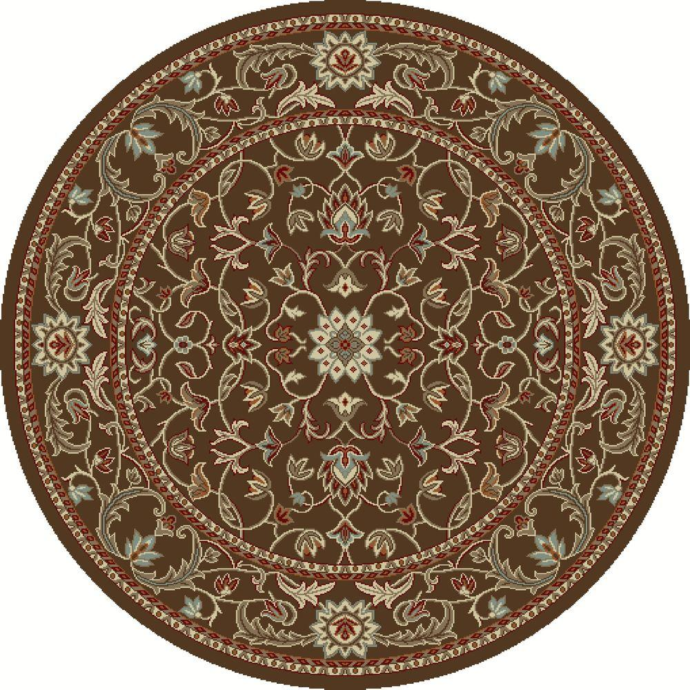 Chester Flora Brown 7 ft. 10 in. Round Area Rug