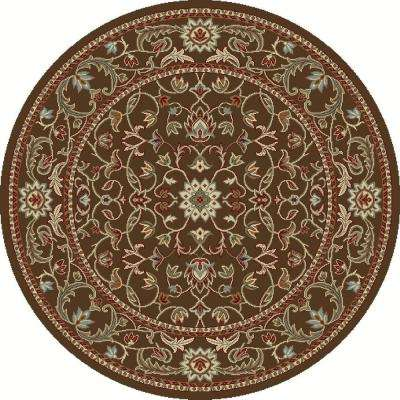 Chester Flora Brown 8 ft. Round Area Rug