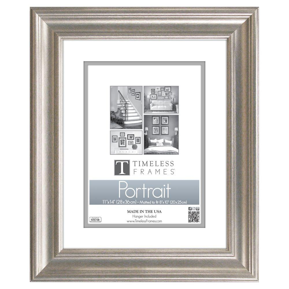 Timeless Frames Lauren 1-Opening 11 in. x 14 in. Silver Matted ...