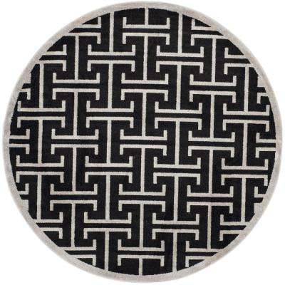 Amherst Anthracite/Light Gray 7 ft. x 7 ft. Indoor/Outdoor Round Area Rug