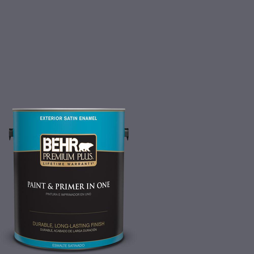 BEHR Premium Plus 1-gal. #N540-6 Script Ink Satin Enamel Exterior Paint