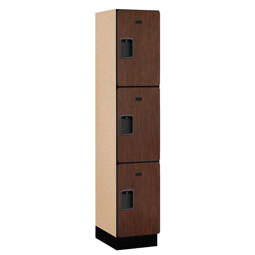 Salsbury Industries 23000 Series 3-Tier Wood Extra Wide Designer Locker in Mahogany - 15 in. W x 76 in. H x 18 in. D
