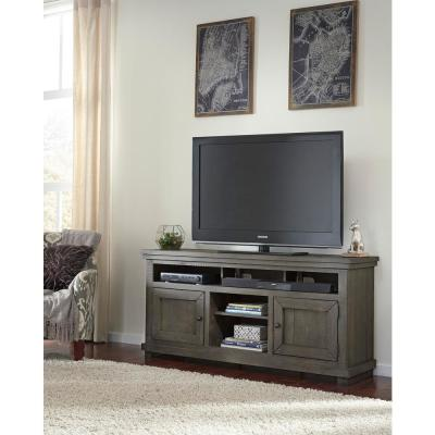 Willow 64 in. Distressed Dark Gray Wood TV Stand Fits TVs Up to 65 in. with Storage Doors