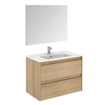 Ambra 31.6 in. W x 18.1 in. D x 22.3 in. H Complete Bathroom Vanity Unit in Nordic Oak with Mirror