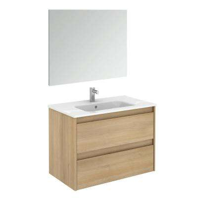 31.6 in. W x 18.1 in. D x 22.3 in. H Complete Bathroom Vanity Unit in Nordic Oak with Mirror