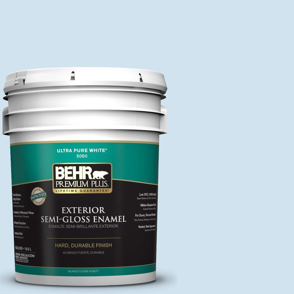 BEHR Premium Plus 5-gal. #M520-1 Vaporize Semi-Gloss Enamel Exterior Paint