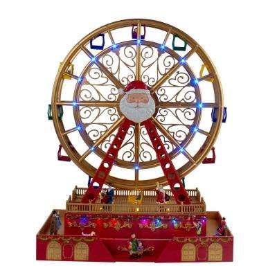 20 in. H x 15 in. W LED Lighted Christmas Big Spinning Ferris Wheel With Holiday Music