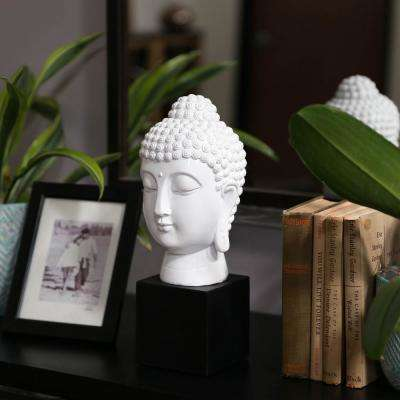 13.5 in. H Buddha Decorative Sculpture in White Gloss Finish