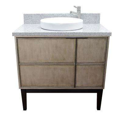 Scandi 37 in. W x 22 in. D Bath Vanity in Brown with Granite Vanity Top in Gray with White Round Basin