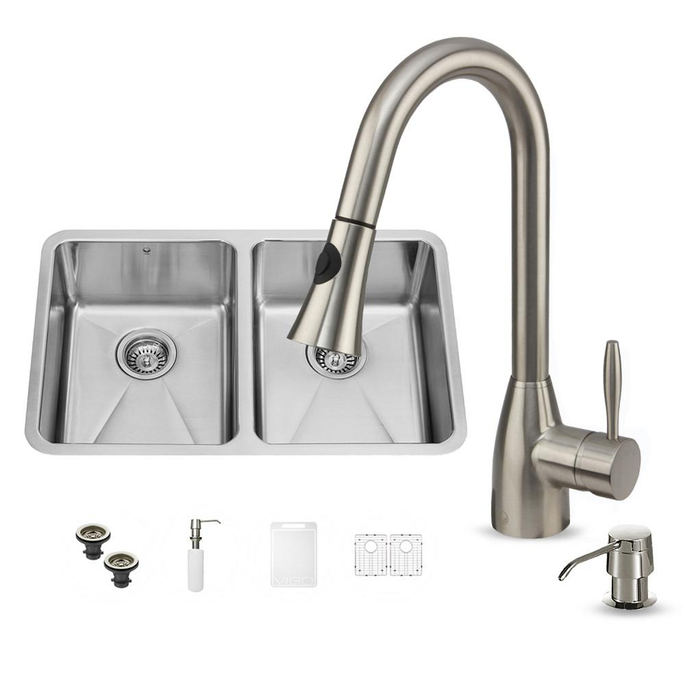 VIGO All-in-One Undermount Stainless Steel 29 in. Double Bowl Kitchen Sink in Stainless Steel