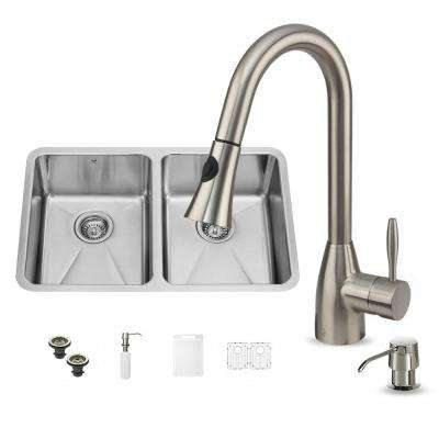 All-in-One Undermount Stainless Steel 29 in. Double Bowl Kitchen Sink in Stainless Steel