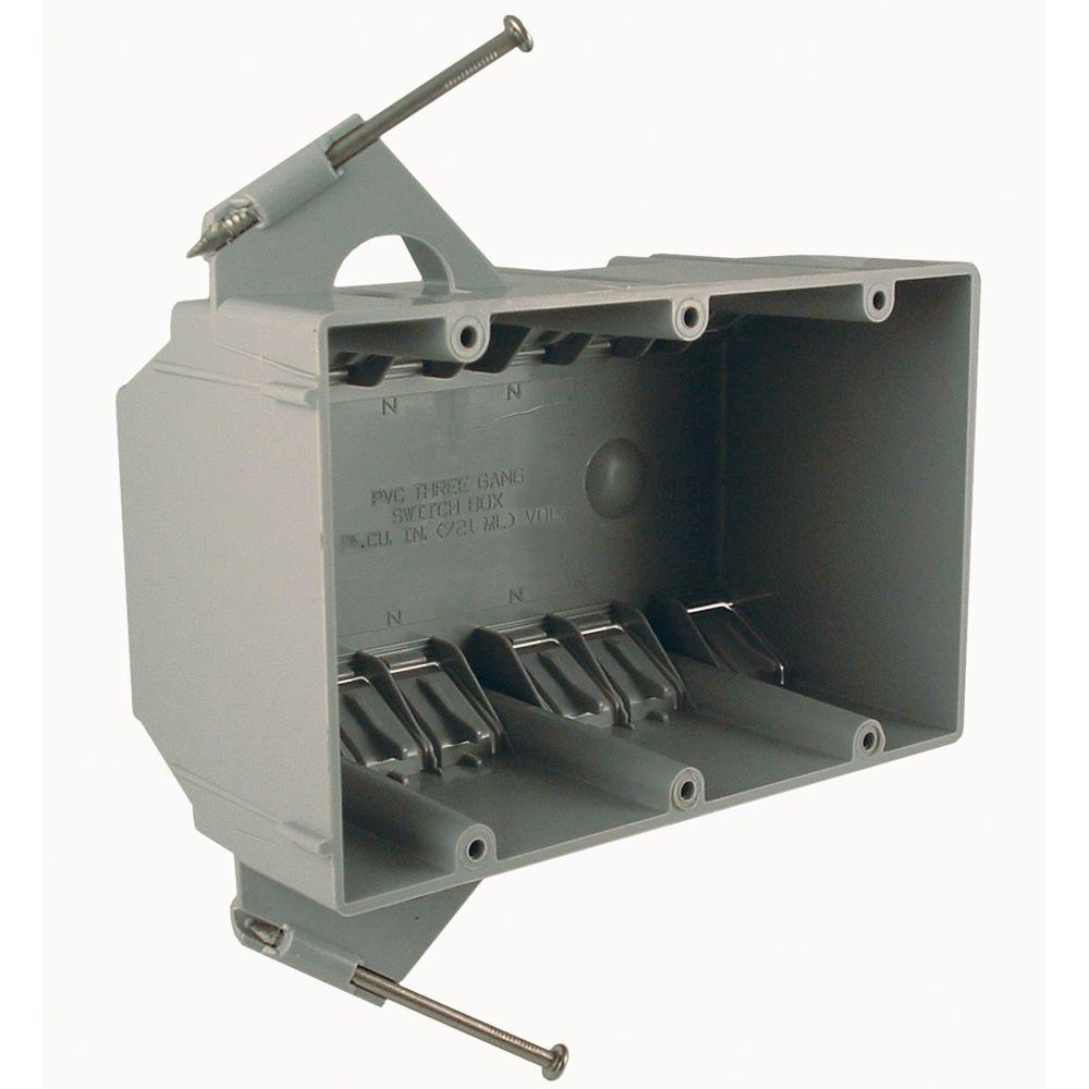 RACO 3-Gang Non-Metallic Box, 2-3/4 in. Deep (8-Pack)