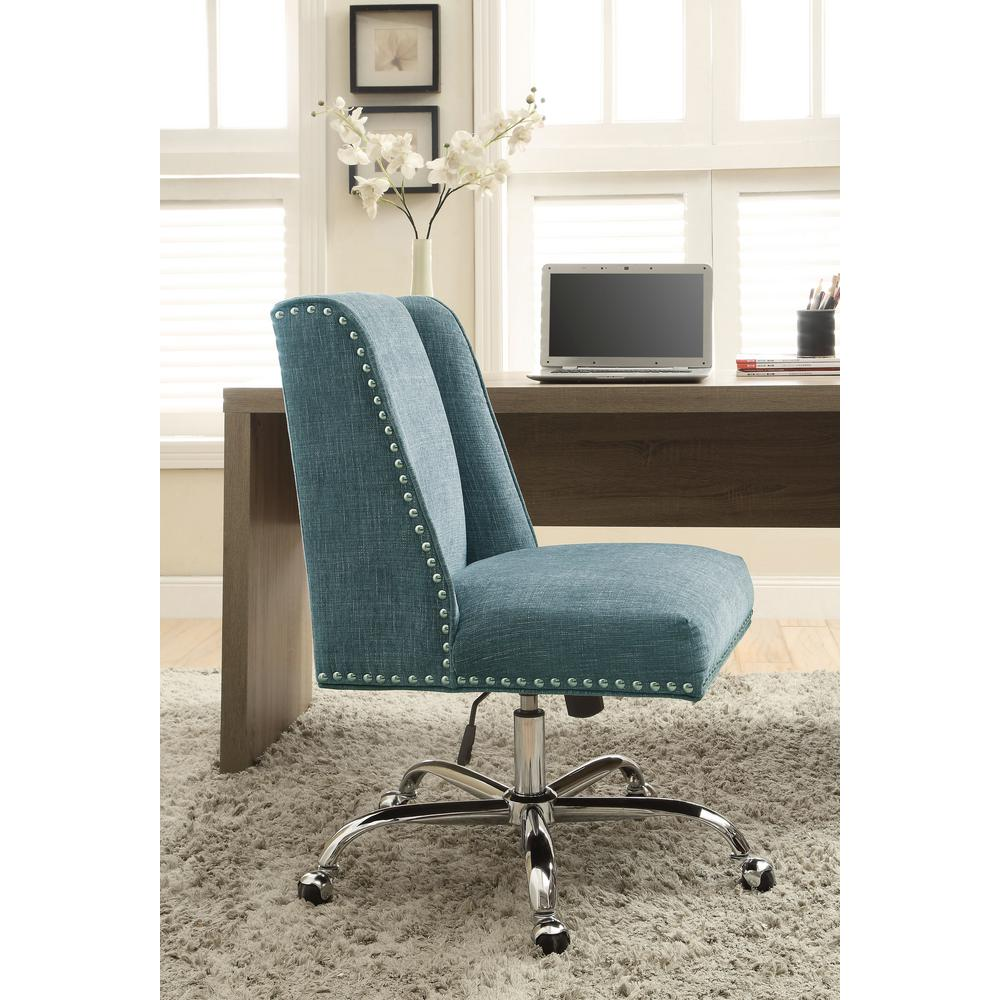 Linon Home Decor Dr Aqua Polyester Office Chair
