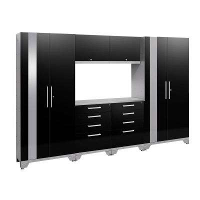 Performance 2.0 72 in. H x 108 in. W x 18 in. D Garage Cabinet Set in Black (7-Piece) with Stainless Steel Top