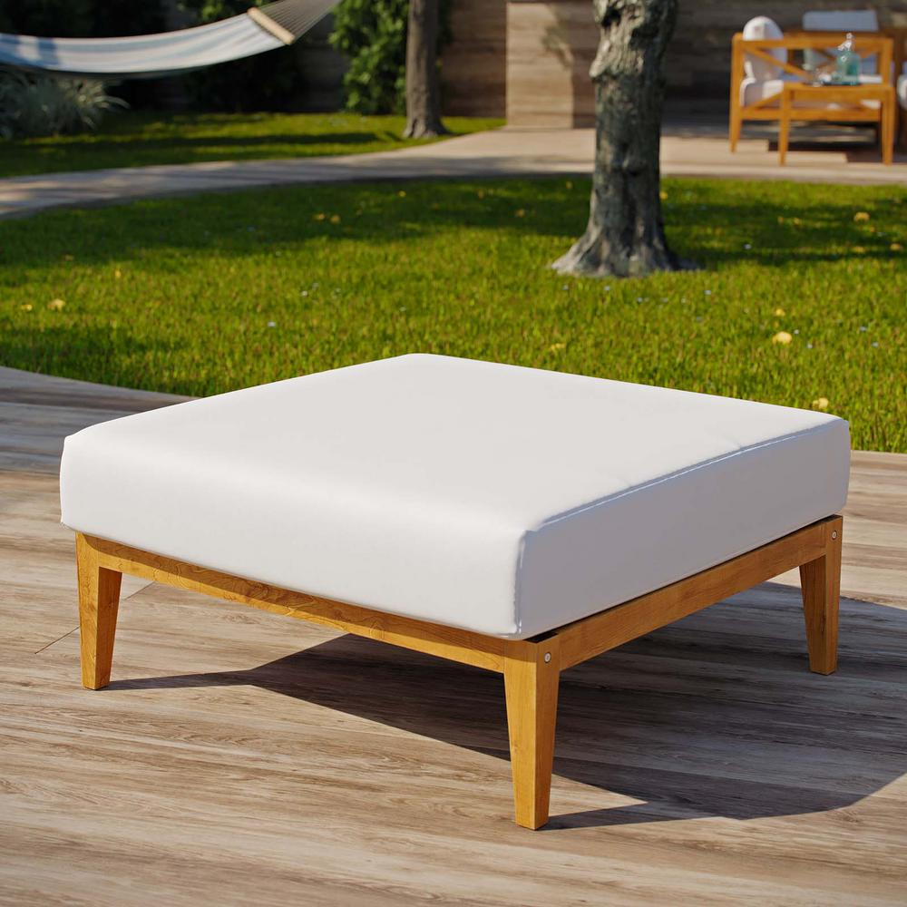 MODWAY Northlake Natural Grade A Teak Wood Outdoor Ottoman with White Cushions