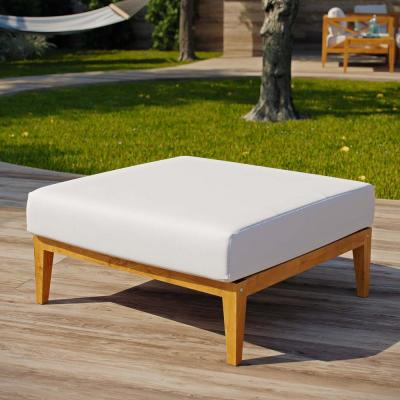 Northlake Natural Grade A Teak Wood Outdoor Ottoman with White Cushions