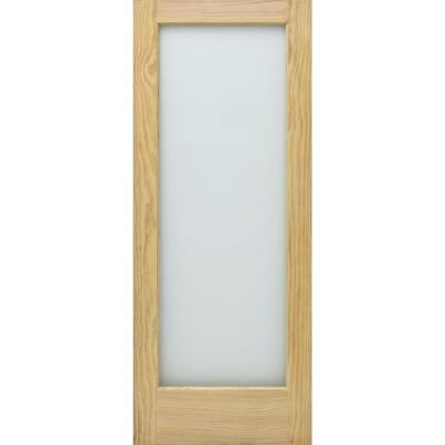 32 in. x 80 in. Universal Full Lite Obscure Glass Unfinished Solid Core Pine Wood Interior Door Slab