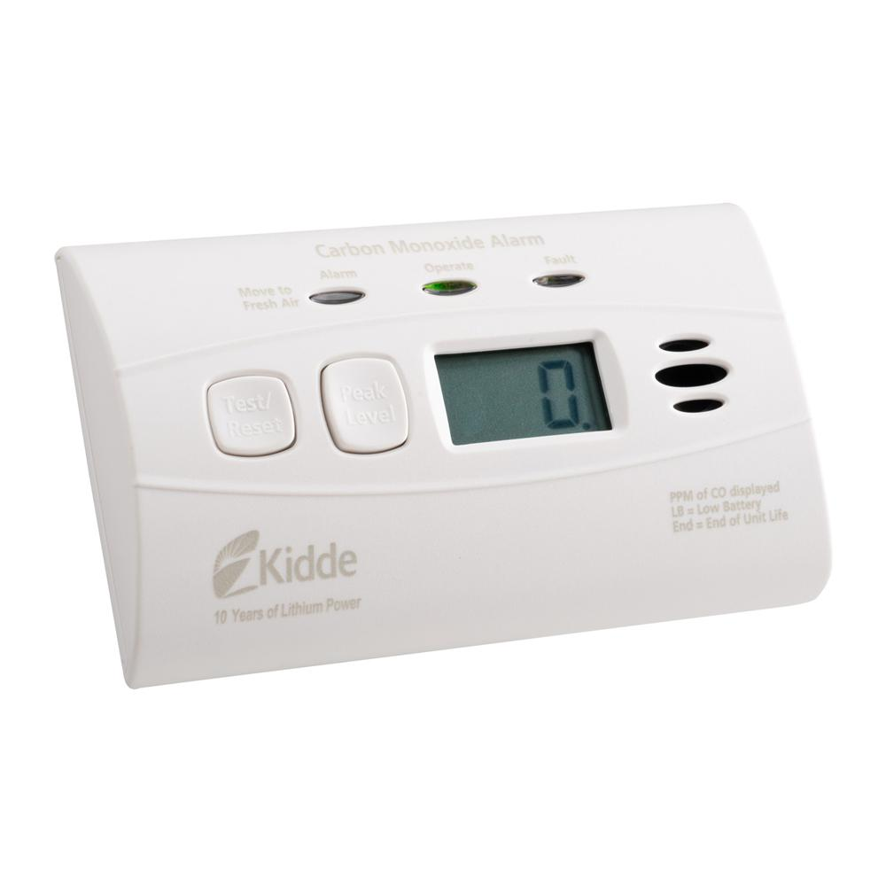 Kidde C3010D Worry-Free Carbon Monoxide Alarm with Digital Display and 10-Year Sealed Battery