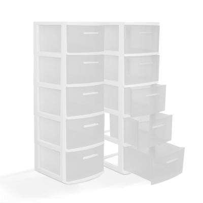 13 in. W x 39 in. H x 15 in. D 5-Drawer Resin Storage Cabinet in White and Clear (2-Pack)