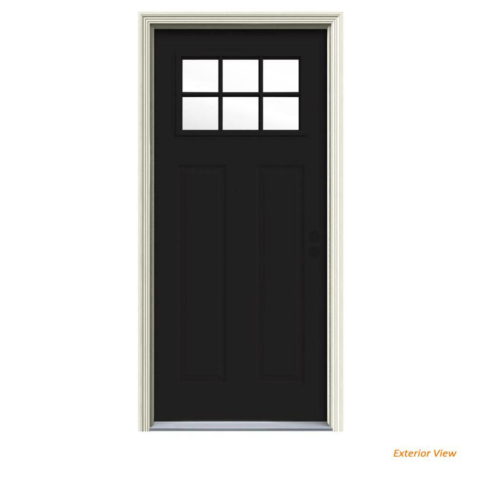 34 in. x 80 in. 6 Lite Craftsman Black Painted Steel Prehung Left-Hand Inswing Front Door w/Brickmould