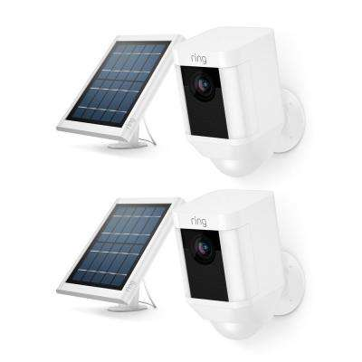 Spotlight Cam Solar Wireless Outdoor Rectangle Security Camera, White (2-Pack)