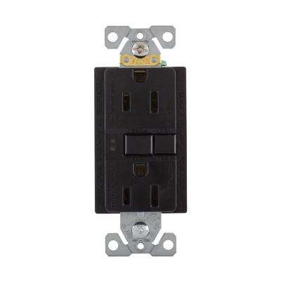 GFCI Self-Test 15A -125V Duplex Receptacle with Standard Size Wallplate, Black