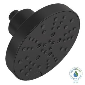 Pivotal 5-Spray H2OKinetic 6 in. Fixed Shower Head in Matte Black