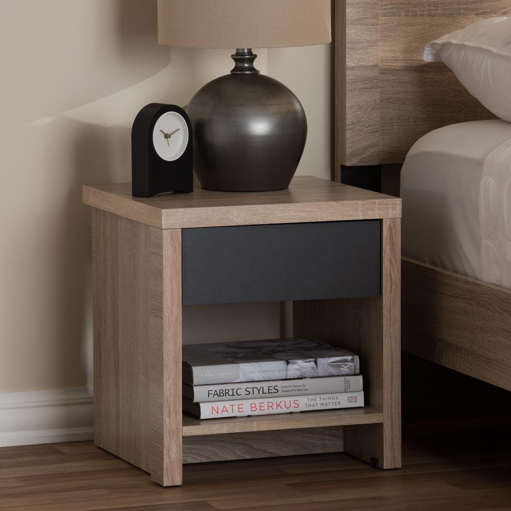 Jamie 1-Drawer 1-Shelf Light Brown Wood Nightstand