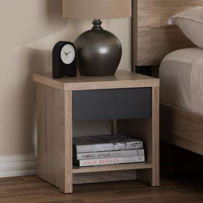 Jamie 1-Drawer 1-Shelf Light Brown Wood Nightstand