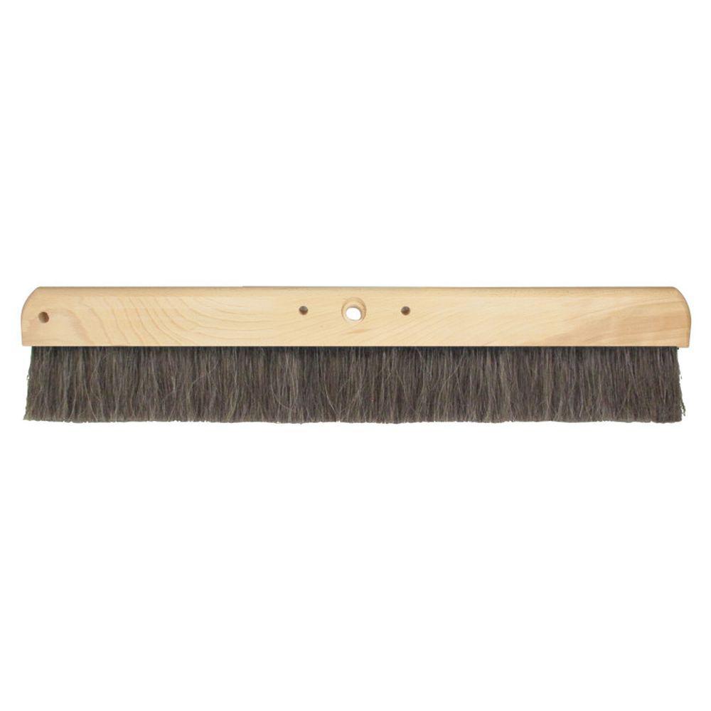 24 in. Black Horsehair Concrete Finish Broom-Wood Block