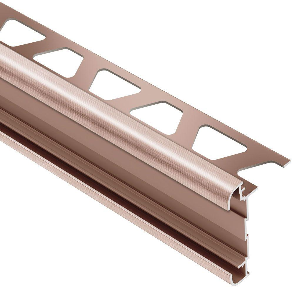 Schluter Rondec-CT Brushed Copper Anodized Aluminum 3/8 in. x 8 ft. 2-1/2 in. Metal Double-Rail Bullnose Tile Edging Trim