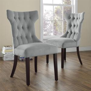 Dorel Clairborne Gray Microfiber Tufted Dining Chairs (Set Of 2) FA6090 PL    The Home Depot