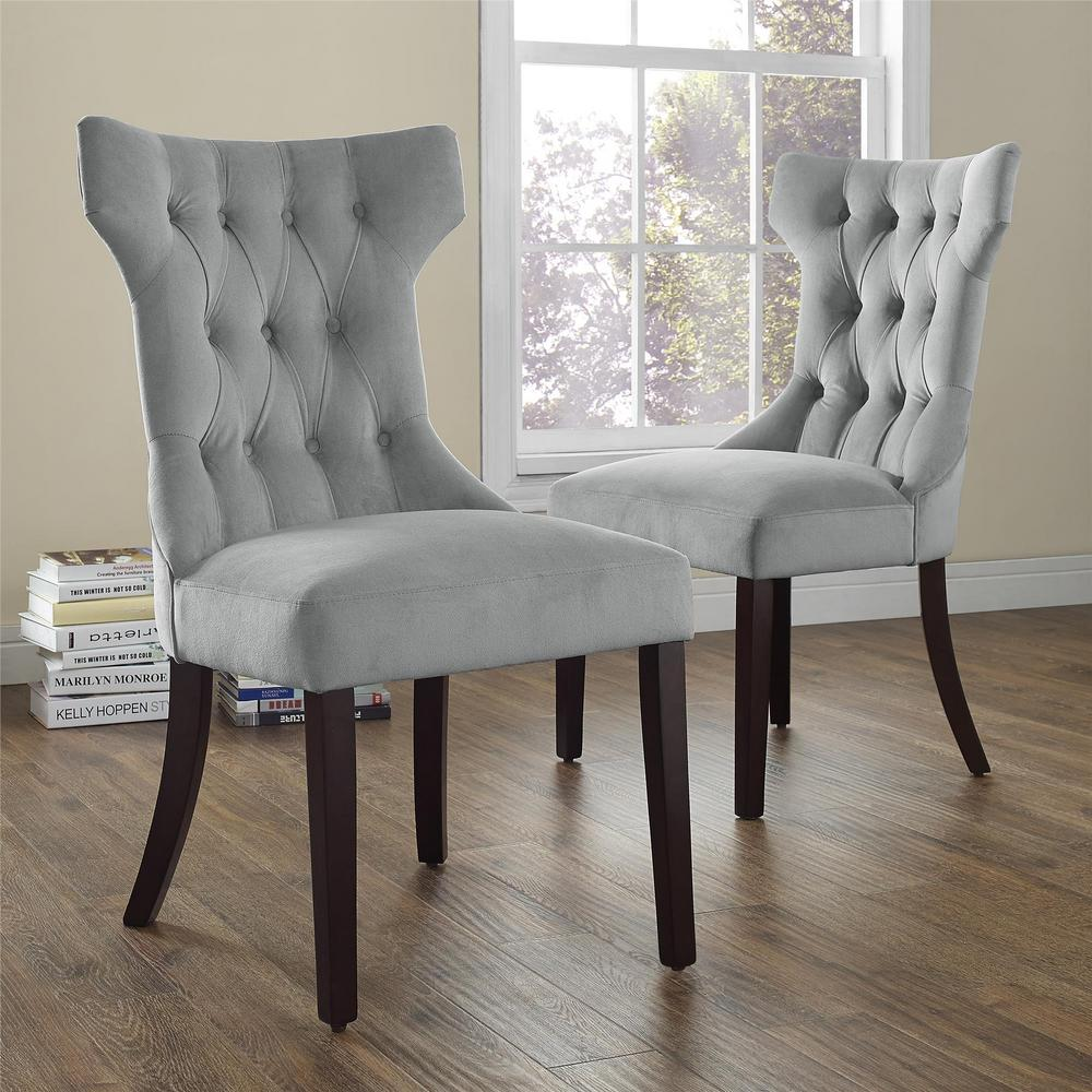 Clairborne Gray Microfiber Tufted Dining Chairs (Set of 2)
