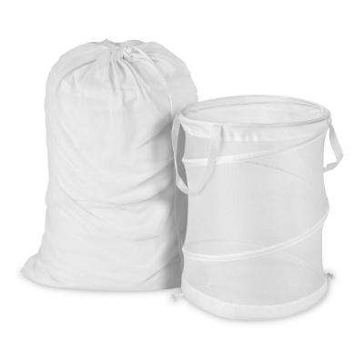 Mesh Laundry Bag and Hamper Kit in White