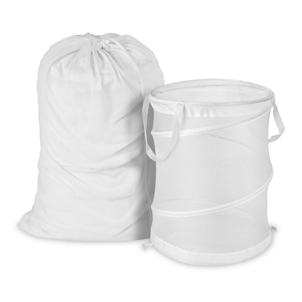 Mesh Laundry Bag and Hamper Kit in White