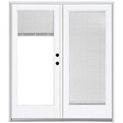60 in. x 80 in. Fiberglass Smooth White Left-Hand Inswing Hinged Patio Door with Built in Blinds